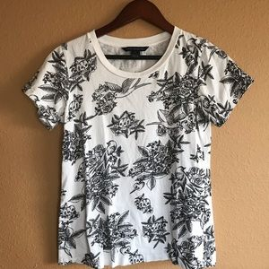 French Connection Skulls and Birds Tshirt Top